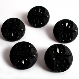 Ornate Round Coat Buttons Faceted Design 15mm Black Pack of 5