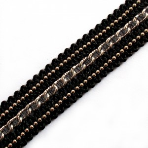 Black Braid Metal Chain Trim 15mm Wide Silver 2 metre length