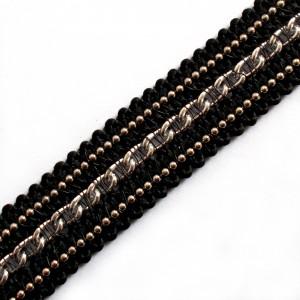 Black Braid Metal Chain Trim 15mm Wide Silver 3 metre length