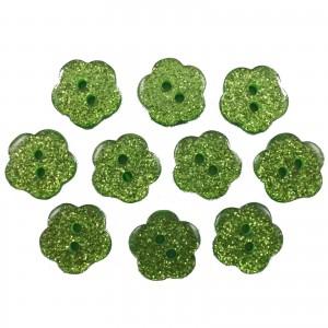 Colour Glitter Flower Shape Buttons 16mm Green Pack of 10