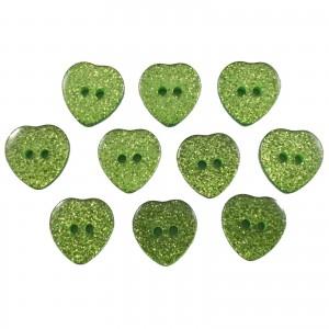 Colour Glitter Heart Shape Buttons 10mm Green Pack of 10
