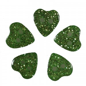 Colour Glitter Heart Shape Buttons 15mm Green Pack of 5