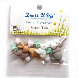 Dress it Up Buttons - Easter Cotton Tails