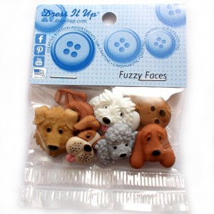 Dress it Up Buttons - Fuzzy Faces