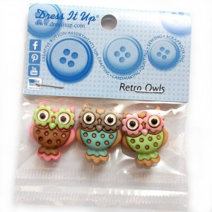 Dress it Up Buttons - Retro Owls