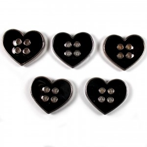 Enamel Metal 4 Hole Heart Silver Colour Buttons 16mm Black Pack of 5