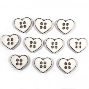 Enamel Metal 4 Hole Heart Silver Colour Buttons 11mm White Pack of 10