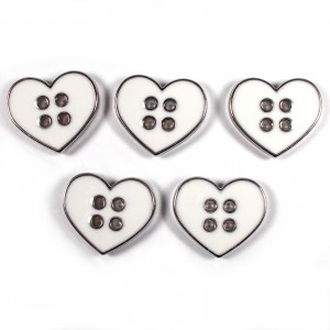 Enamel Metal 4 Hole Heart Silver Colour Buttons 16mm White Pack of 5