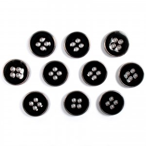 Enamel Metal 4 Hole Round Shirt Buttons 10mm Black Pack of 10