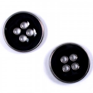 Enamel Metal 4 Hole Round Shirt Buttons 11mm Black Pack of 2