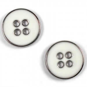 Enamel Metal 4 Hole Round Shirt Buttons 10mm White Pack of 2