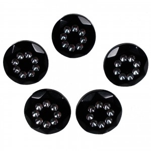 Acrylic Buttons with Faux Diamante Circle Design 11mm Black Pack of 5