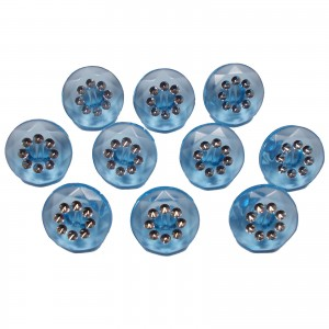 Acrylic Buttons with Faux Diamante Circle Design 15mm Blue Pack of 10
