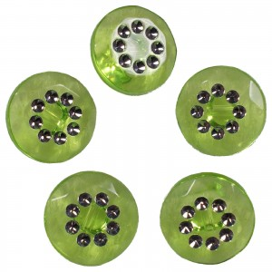 Acrylic Buttons with Faux Diamante Circle Design 15mm Green Pack of 5