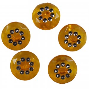 Acrylic Buttons with Faux Diamante Circle Design 11mm Orange Pack of 5