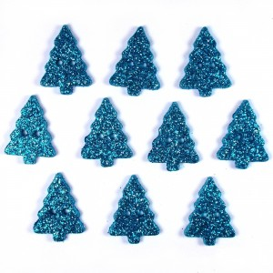 Glitter Xmas Christmas Tree Buttons 20mm x 15mm Blue Pack of 10