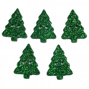 Glitter Xmas Christmas Tree Buttons 20mm x 15mm Green Pack of 5