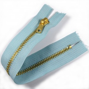 Gold Metal Trouser Jeans Zip Zipper 6 inch Light Blue