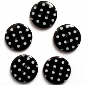 Round Plastic Polka Dot Spot 2 Hole Buttons 15mm Black with White Pack of 5