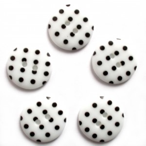 Round Plastic Polka Dot Spot 2 Hole Buttons 13mm White with Black Pack of 5