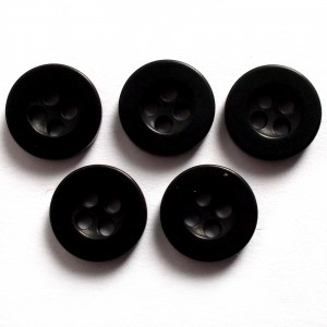 Shiny 4 Hole Shirt Buttons 11mm Black Pack of 5