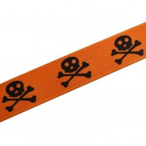 Skull & Crossbones Pirate Halloween Ribbon 15mm wide Orange & Black 1 metre length