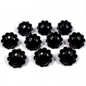 Smiley Face Sunshine Flower Daisy Buttons 15mm Black Pack of 10