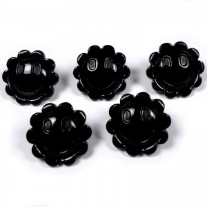Smiley Face Sunshine Flower Daisy Buttons 15mm Black Pack of 5