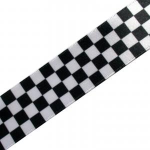 Black & White Chequered Flag Satin Ribbon - Two-Tone Ska - 15mm wide 1 metre length