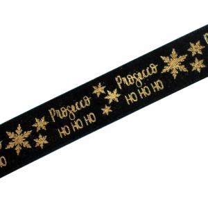 Xmas Drinks Ribbon 15mm wide Prosecco Black 2 metre length