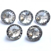 Acrylic Crystal Effect Clear Round Buttons 11mm Pack of 5