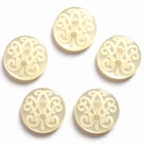 Etched Blouse Shirt Round Buttons Patterned 11mm Ivory Pack of 5