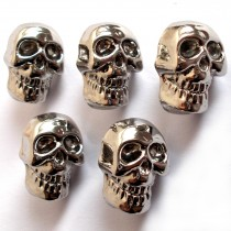 Metal Look Plastic Skull Buttons 12mm x 9mm Silver Pack of 5
