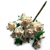 Bunch of 12 Paper Tea Roses 20mm Flower Silver White