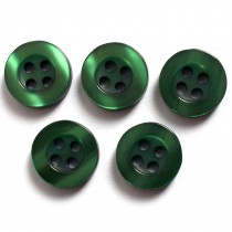 Shiny 4 Hole Shirt Buttons 11mm Dark Green Pack of 5