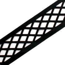 Trellis Fishnet Cut Out Ribbon 35mm wide Black 1 metre length