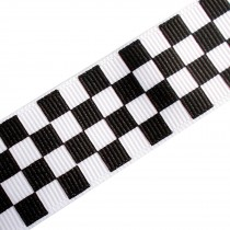Chequered Flag Grosgrain Ribbon - Two-Tone Ska - 15mm wide Black 1 metre length
