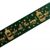 Xmas Drinks Ribbon 15mm wide Gin-gle Green 1 metre length